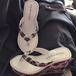 """""""Rampage"""" Sandals. Mostly White with black flowers"""